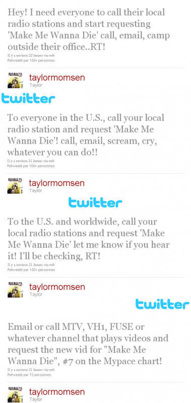Alors voici les tweets exacte de Taylor comme promis.
