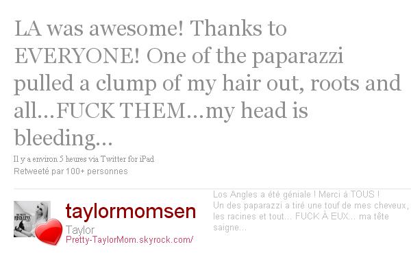 Tweets Taylor. Pour le premier tweet, c'est très gentil de la part de Taylor de faire ça, c'est cool. Et pour deuxième   tweet; franchement, si c'est vrai, les paps vont vraiment trop loin !!