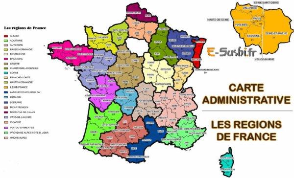 ANCIENNE CARTE DES REGIONS DE FRANCE AVANT LES NOUVELLES REGIONS