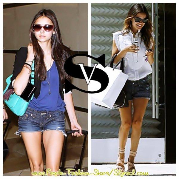 """DUEL , parmis ces deux fashionistas , la quelle porte le mieux le fameux """" Short Jean """" ??"""