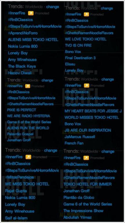 Hier les aliens, vous avez tout déchiré! Tokio Hotel était en Trending Topic MONDIAL toute la journée! (Merci à @BillKaulitzfans pour les captures d'écran).