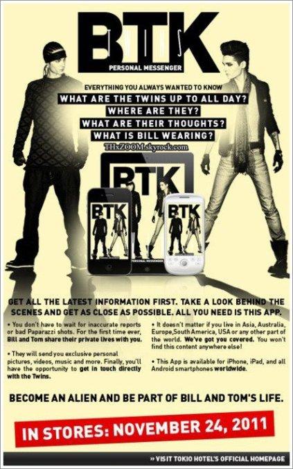 FACEBOOK Tokio Hotel : L'application des jumeaux Kaulitz sera disponible le 24 novembre ! _______________(Traduit par .xxBee483 pour Tokio Hotel France)