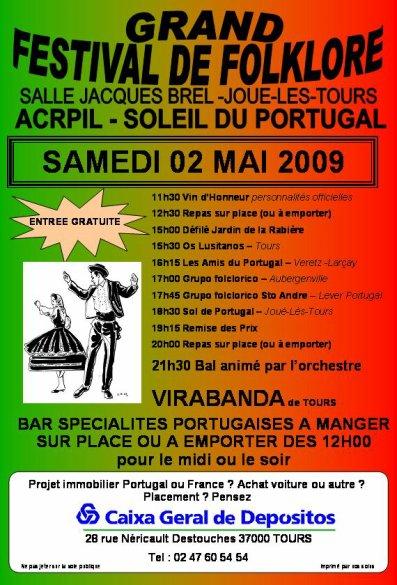 SAMEDI 02 MAI 2009 - 3ème FESTIVAL DE FOLKLORE PORTUGAIS A JOUE-LES-TOURS (37300)