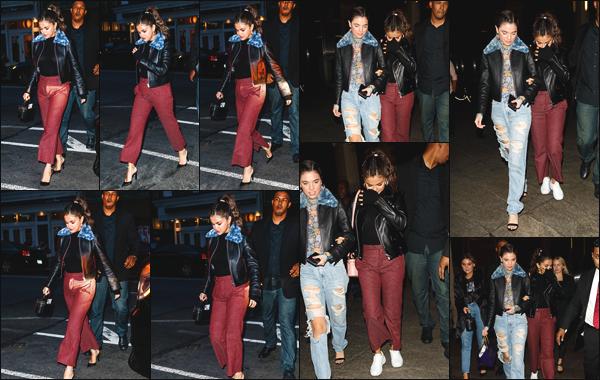 - ''•-11/09/18-'  Selena Gomez a été vue alors qu'elle se rendait au restaurant japonais « Nobu » dans New York. La jeune femme quittait ensuite les lieux en compagnie de son garde du corps et de ses amis. J'accorde un grand top pour sa tenue, quel est ton avis ?! -