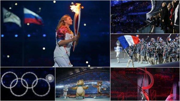 Cérémonie des Jeux Olympiques d'hiver à Sochi, Russie.