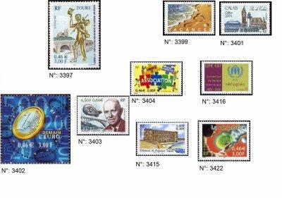 timbres français année 2001