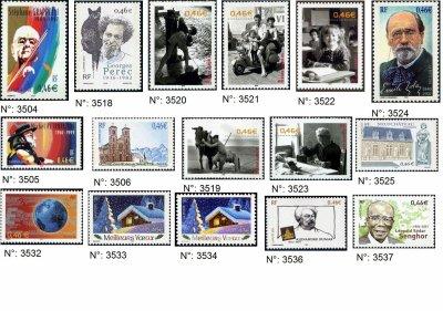 timbres français année 2002