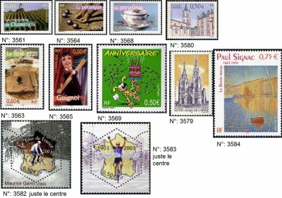 timbres français année 2003
