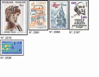 timbres français années 1980-1989
