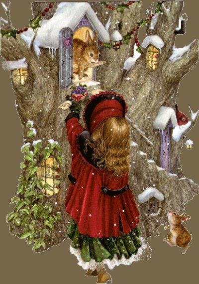 L'enfant et les animaux dans la neige