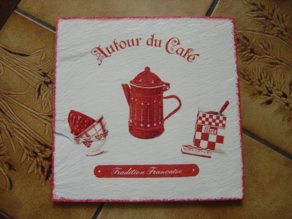 """DESSOUS DE PLAT EN ARDOISE """"AUTOUR DU CAFE"""""""