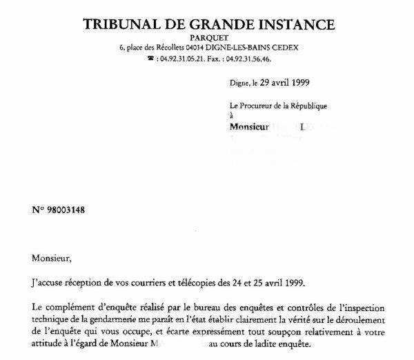 L'HONNEUR RETABLI D'UN GENDARME