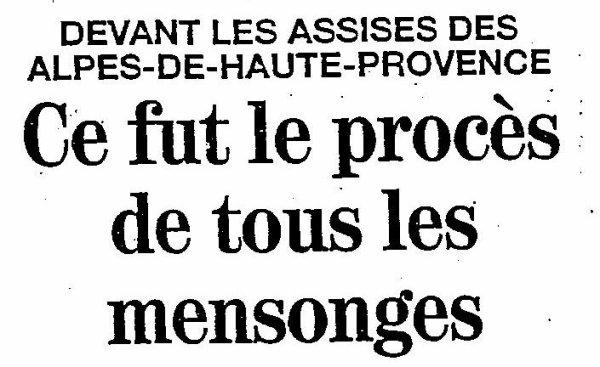 CE FUT LE PROCES DE TOUS LES MENSONGES Titre de France soir actualité,  du samedi 18 Janvier 1992