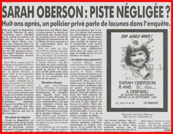 FONDATION SARAH OBERSON dont le but principal est l'aide aux familles victimes d'enlèvement ou de disparition d'enfants et d'adolescents.