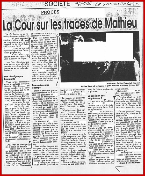 "La Cour sur les traces de Mathieu. ""Disparitions d'enfants"" - ""Enfants disparus"""