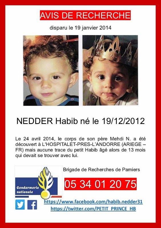 Disparition du petit Habib Nedder le 19 janvier 2014 - Pour en savoir plus et avis de recherches.