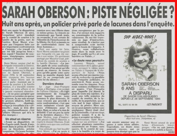 DISPARITION D'ENFANT - SARAH OBERSON -