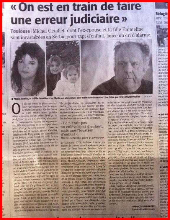 ENLEVEMENT D'UN ENFANT AGE DE 2 ANS PAR 3 FRANCAIS CE 13 MARS 2015