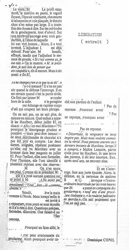 L'HONNEUR D'UN GENDARME