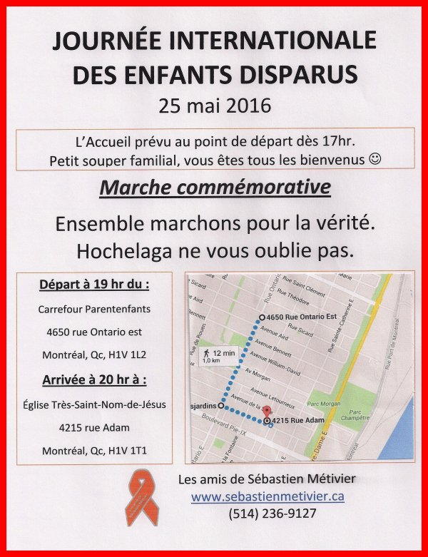 25 MAI 2016 JOURNEE INTERNATIONALE DES ENFANTS DISPARUS