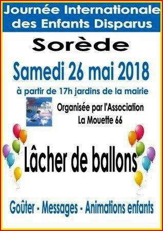 JOURNEE INTERNATIONALE DES ENFANTS DISPARUS A SOREDE 66 LE SAMEDI 26 MAI 2018