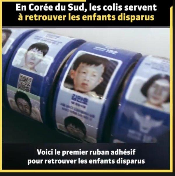 ruban adhésif qui affiche les portraits d'enfants disparus pour transformer la livraison de colis en espoir pour les familles.
