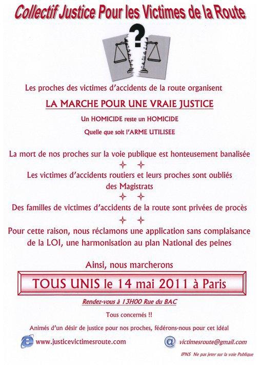 MARCHE BLANCHE DU 14 MAI 2011 PARIS POUR TOUTES LES VICTIMES DE LA ROUTE..APPEL A LA MOBILISATION..