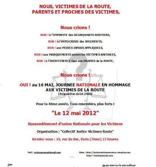 RASSEMBLEMENT NATIONAL POUR TOUTES LES VICTIMES DE LA ROUTE 12 MAI 2012 PARIS