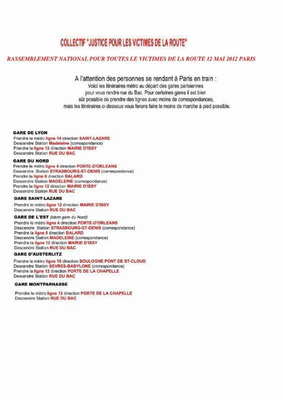RASSEMBLEMENT NATIONAL POUR TOUTES LES VICTIMES DE LA ROUTE 12 MAI PARIS 13 H RUE DU BAC