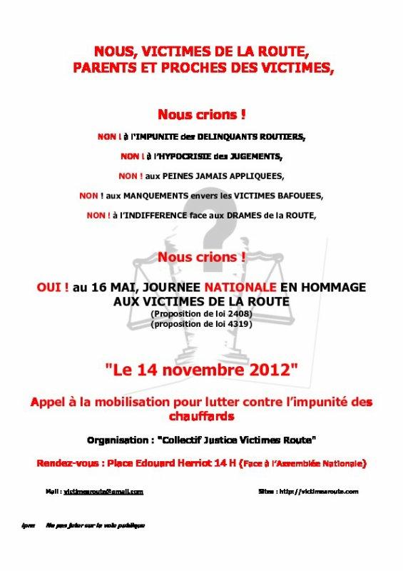 Appel A La Mobilisation Pour Lutter Contre L'impunité Des Chauffards