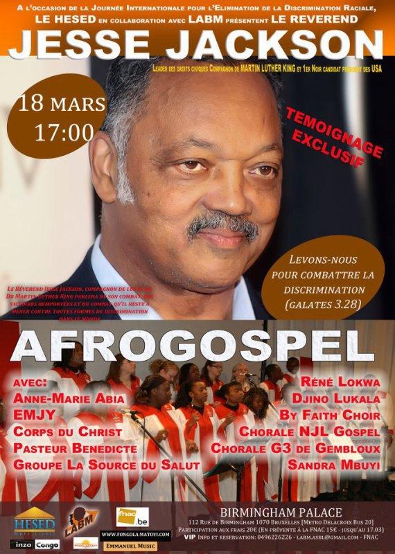Ce Dimanche 18 Mars Grand témoignage de Jesse Jackson à Bruxelles