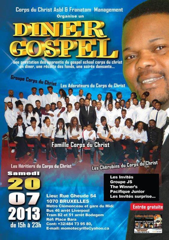 Samedi 20 juillet RENDEZ VOUS au Dîner Gospel du GROUPE CORPS DU CHRIST