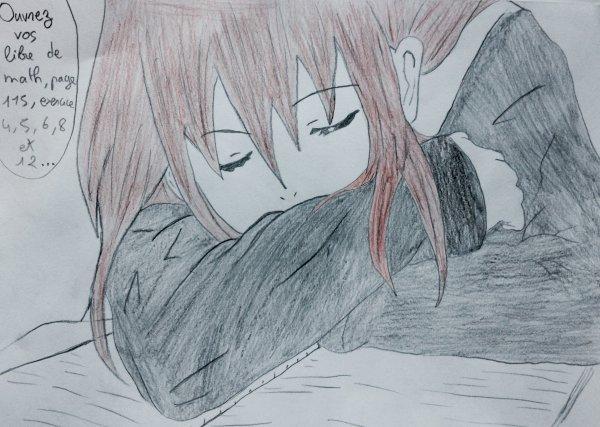 Létisia à 14 ans qui dort en classe. (Ne pas suivre son exemple ^.^)