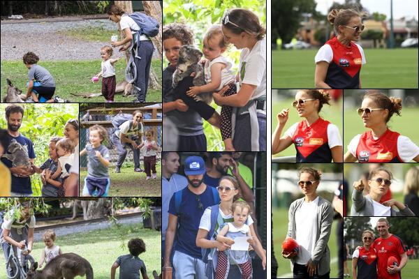27.11.2018 : Nataliepoursuit son périple en Australie avec son mari et ses enfants où ils ont visité un zoo   Dans la même journée Natalie s'est rendu à un entraînement de rugby des Melbourne Demons au Goschs Paddock à Melbourne