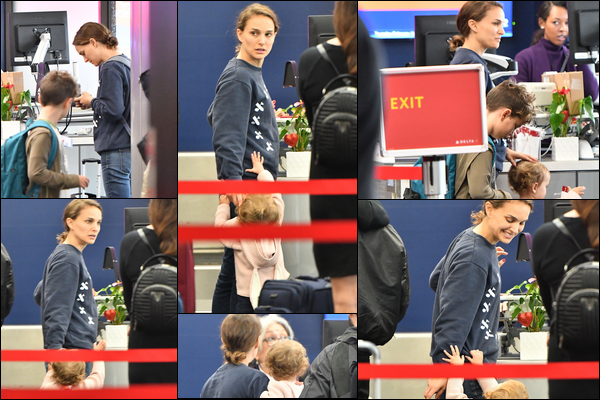 14.02.2019 :Natalie Portman le jour de la Saint Valentin a été aperçue à l'aéroport de LAX à Los Angeles Après plusieurs jours sans nouvelles on retrouve Natalie Portman au guichet de l'aéroport dans une tenue décontractée et souriante