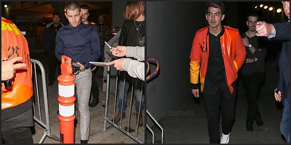 . Nick & Joe Jonas||Ils sortaient du concert d'Elton John à Los Angeles. || 13/01/16 .