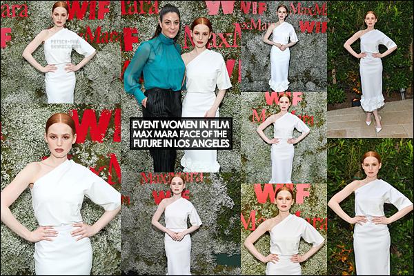 --●_11/06/19_ ▬ Madelaine Petsch lors de l'événement «Women in Film Max Mara Face Of The Future» à Los Angeles. Notre jolie actrice était présente lors de l'évent vêtue d'une très belle et longue robe blanche. Je suis totalement fan, et vous alors mes chers amis? -