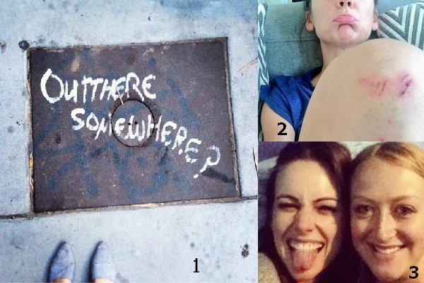 21/07 : Découvrez une photo que Jess à postée sur son instagram. (1)  17/07 : Voici une photo que Jess à envoyé. Elle est tombée à Londres à cause d'un cycliste. (2)  17/07 : Jessica était au concert deTom Odell à Londres, d'où elle a pris une photo avec une fan. (3)