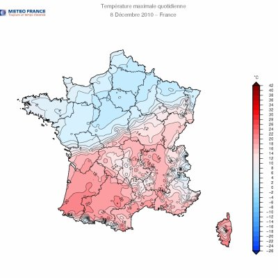 Trés fort contraste de masse d'air en france le 06 12 2010  07 12 2010 et 08 12 2010