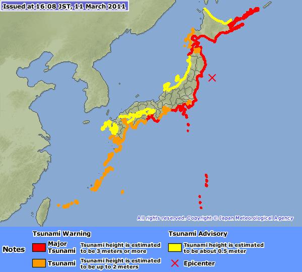 Zone touchée par le tsunami aux japon