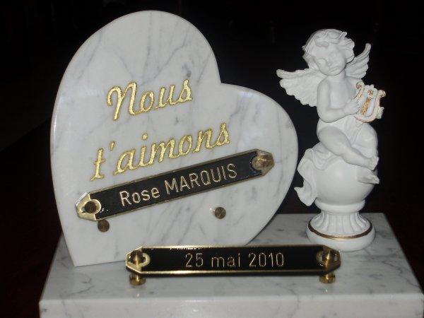 1an sans toi ma Poupée!! La Plaque que Ta Famille,Marraine,Benoit D,Mamie,Papi et Tonton Juju t'avons déposer sur ta Tombe mon Ange!!