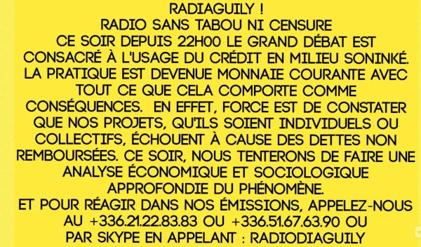 Radio Diaguily ! Radio sans tabou ni censure