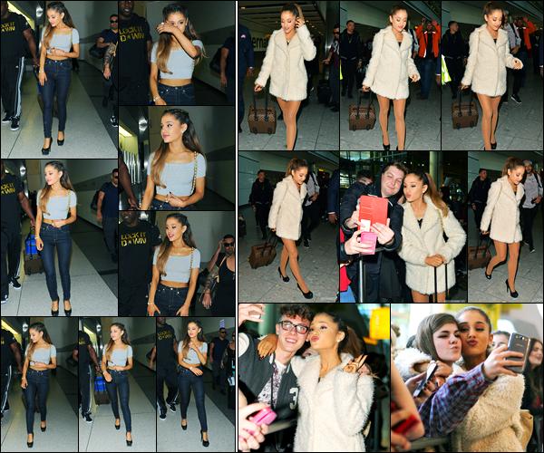 06.10.2014 ─ Ariana Grande a été photographiée, alors, qu'elle arrivait à l'aéroport de LAX, étant, à Los Angeles.La sublime Ariana Grande a pris comme destination pour l'Angleterre, plus précisément Londres ! Concernant sa tenue, c'est un très beau top pour moi !