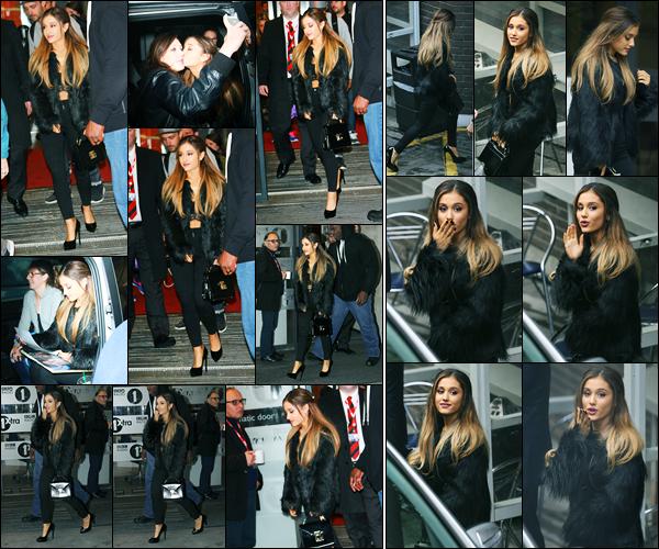08.10.2014 ─ Ariana Grande a été photographiée alors qu'elle arrivait aux studios « BBC Radio 1 », dans Londres.Plus tard, la chanteuse Ariana Grande a été photographiée, alors, qu'elle quittait les studios télévisé de ITV à Londres. Concernant sa tenue, c'est un top !