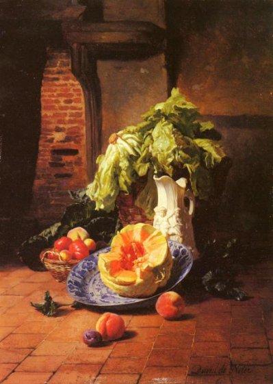 """David - nature morte """"pichet de porcelaine blanche, fruits et légumes"""""""