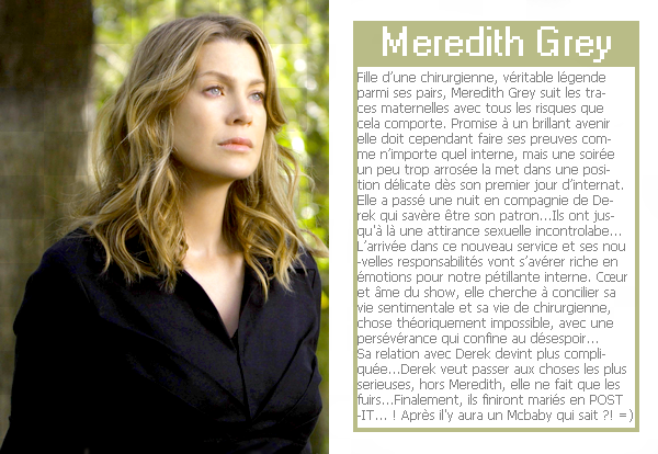 # EllenPompeo-Source ; About Meredith Grey  >> Décoration.__>> Création.__>> Favoris.__>> Add Friends.__>> Follow me on Twitter__>> Bonne Visite ! :)