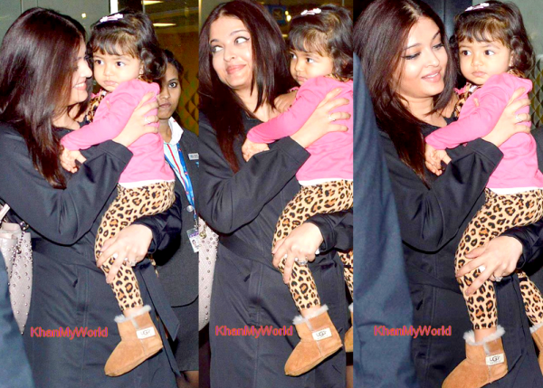 Aishwarya & Aradhya bachchan qui retournent a Mumbai =