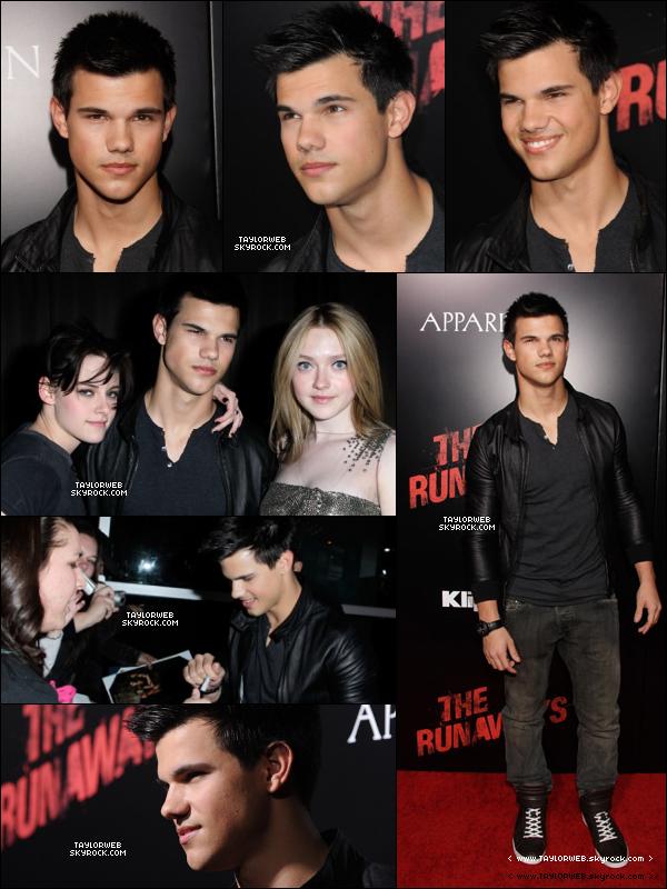. 11.03.10___T. à la première de The Runaways à L.A, pour encourager ses co-stars Kristen et Dakota .