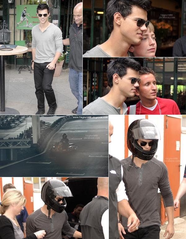 . 19.06.10___Taylor sortant d'un restaurant à Berlin et saluant ses fans puis faisant du karting .