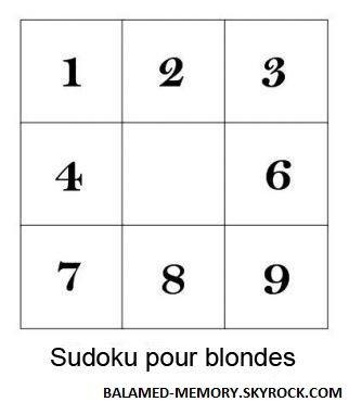 HUMOUR DE LA SEMAINE : Sudoku pour blondes